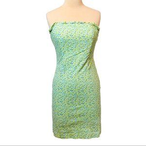 Vintage Express Floral Print Strapless Dress